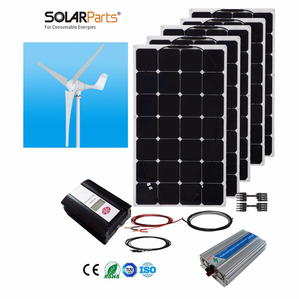Boguang 1x 600W Wind Turbine+5X100W Solar Hybrid system DIY kit solar panel home house module mobile dc 12v/24v off grid tie(China (Mainland))