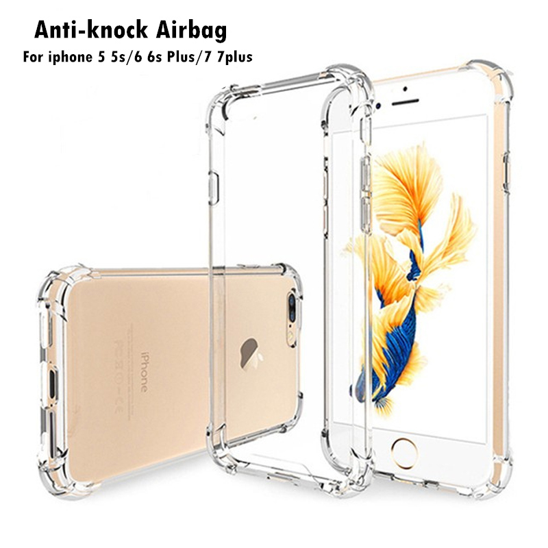Anti-knock-Airbag-Phone-Cases-Cover-for-iPhone-7-7plus-Clear-Case-Silicone-TPU-Shockproof-For