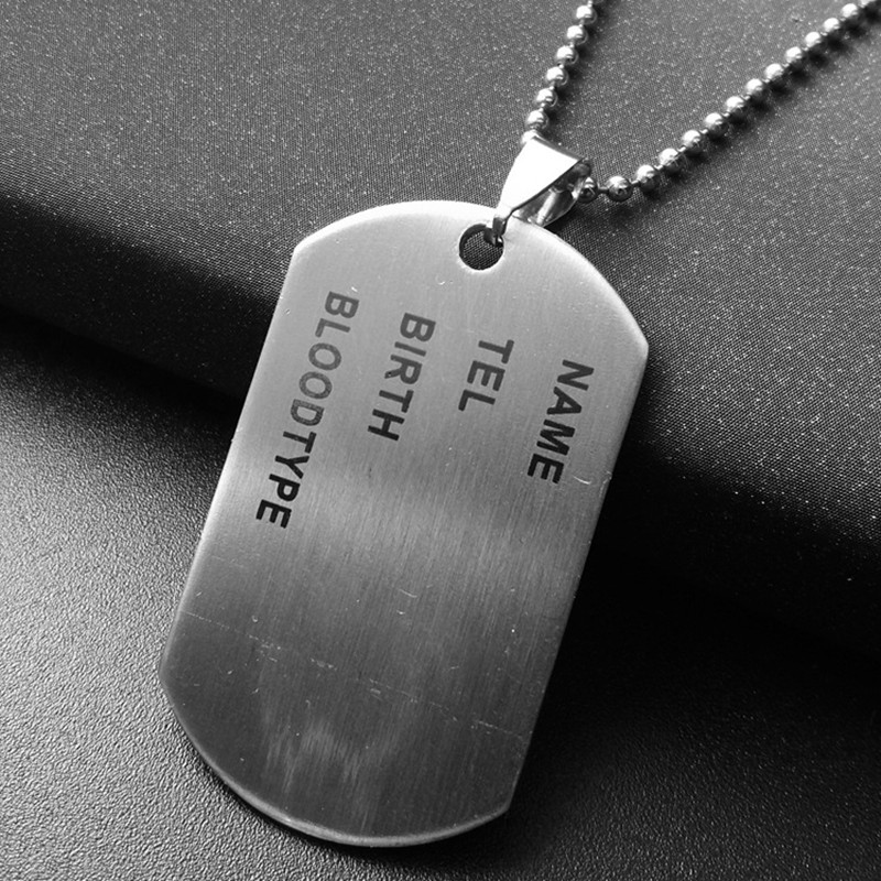 Unique Designer Stainless Steel Mens Nameplate Military Army Style Dog Tags Chain Mens Pendant Necklace Jewelry Accessories(China (Mainland))