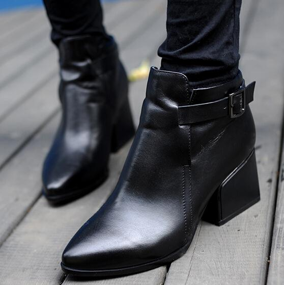 ENMAYER New Autumn winter boots Women genuine leather shoes Ankle boots women Black High quality motorcycle Martin boots(China (Mainland))