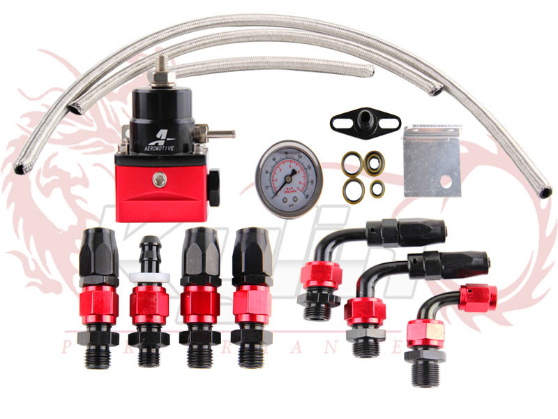 Free Shipping-AEROMOTIVE black&red style 7MGTE MKIII Fuel Pressure Regulator with hose line kits&Fittings&Gauge(China (Mainland))