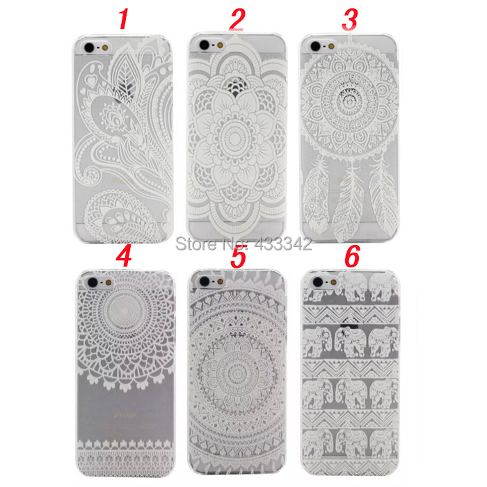iPhone 6 6S 7 Plus 5 5S SE Mandala Flower Henna Floral Paisley Clear Plastic Case - N-Game LIMITED store