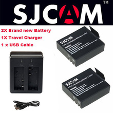 2PCS SJCAM SJ4000 Battery 3.7V 900mAh Lithium  rechargeable battery With Dual Charger For SJCAM SJ4000 SJ5000 SJ5000 Plus