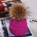 Fashion Women s Winter Knitted Fur Beanie Hats With 16cm Real Raccoon Fur Pompoms Caps Ear