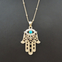 2015 Free Shipping SD103 Hamsa hand fatima national trend necklace transhipped mascot lucky necklace(China (Mainland))