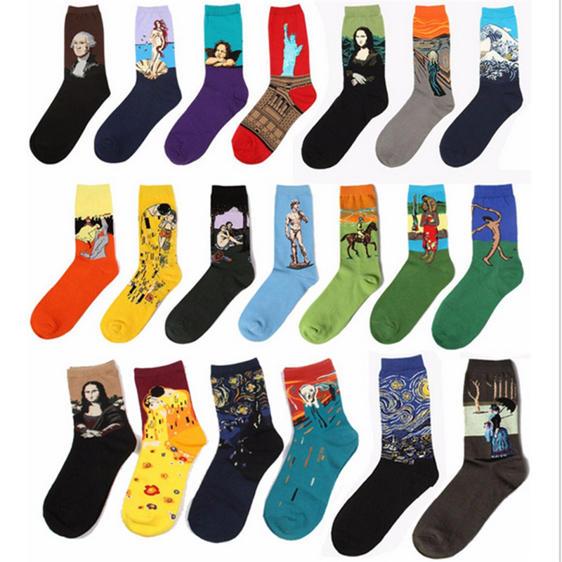 Free Shipping Fashion Art Cotton Crew Socks of Painting Character Pattern for Women Men Harajuku ...