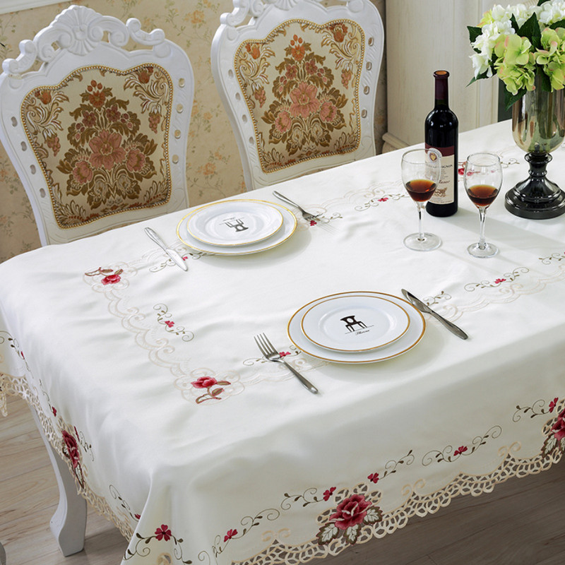 Round Table Cloth Cotton Polyester tablecloth Embroidered Floral Patchwork Mantele Table Cover Dinner White Nappe Chair Cover(China (Mainland))