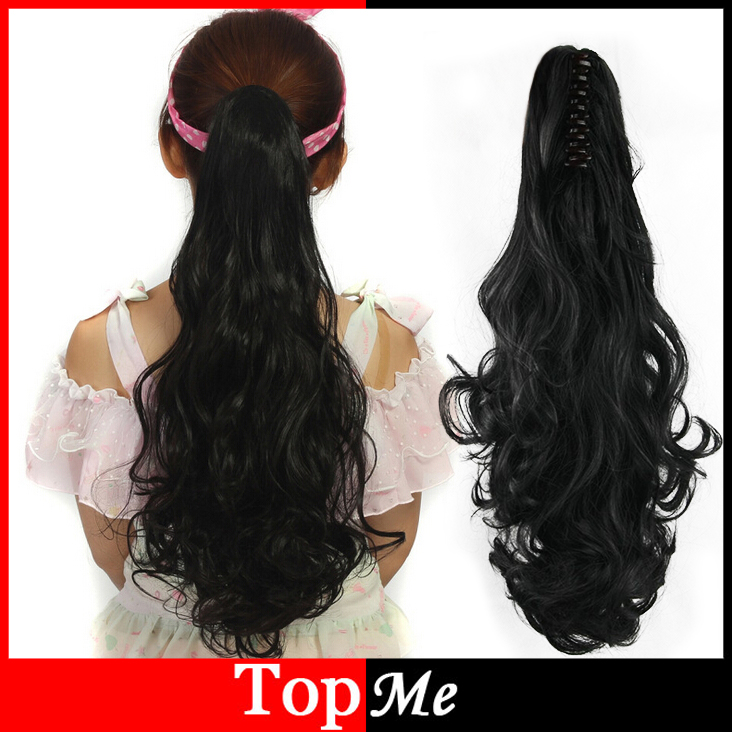 Women Claw Clip Ponytails 50cm Long Wavy Hair Extensions High Tempreture Synthetic Curly One Piece Lady Black Ponytail Hairpiece(China (Mainland))