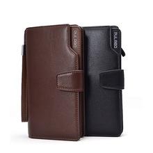 Hot New fashion design black genuine leather men wallets long zipper brown purse women clutch carteira