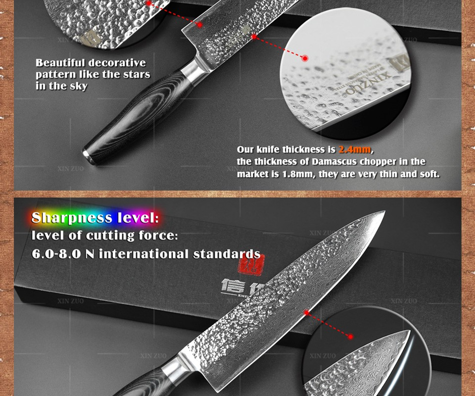 "Buy XINZUO 8 "" chef knife Japanese Damascus kitchen knife kitchen tool senior meat vegetable knife Color wood handle free shipping cheap"