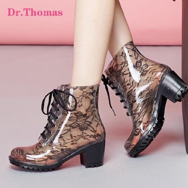 Бесплатная доставка 2016 весна и лето hot-бесплатная продавать мода элегантный туфли на высоком каблуке сапоги, Прозрачные ботинки на шнурках, Дождь сапоги