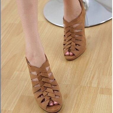 Platforms Women Sandals Cut-outs Peep Toe Ladies Shoes Weaving Big Size 34-43 Women Sandals Zip Sexy High Heels Ladies Shoes 45(China (Mainland))
