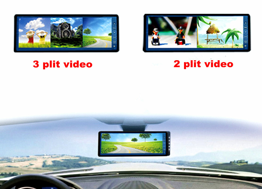 10.2 Touch key Car Auto LCD screen Rearview Mirror Monitor w/ 3 split video 4ch video input for car video rear view camera