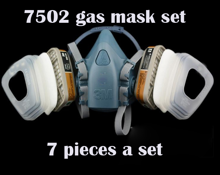 7502 Gas mask With 2 filter box And 2 filter cover And 2 Filter Cotton A Set silicone Breathing mask Set(China (Mainland))