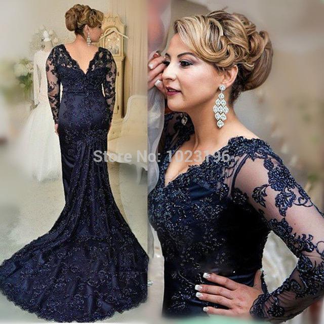 2016 русалка с длинными рукавами мать невесты платья двойной v-образным вырезом великолепная ...