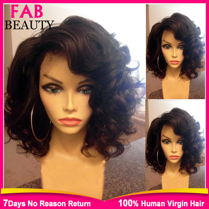 2015 New Virgin Brazilian Short Human Hair Lace Front Wig Glueless Lacefront Wig Full Lace Short Human Hair Wigs For Black Women(China (Mainland))