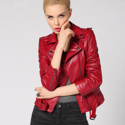 2015 Spring Autumn Black Red Fashion slim Genuine Leather sheep leather Full Turn-down Collar women Motorcycle clothing QLL 092Одежда и ак�е��уары<br><br><br>Aliexpress
