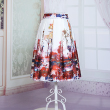 Summer Style New Fashion Skirts Solid Landscape Pattern Printed Elastic High Waist A-Line Women's Sexy Tutu Knee-Length Skirts