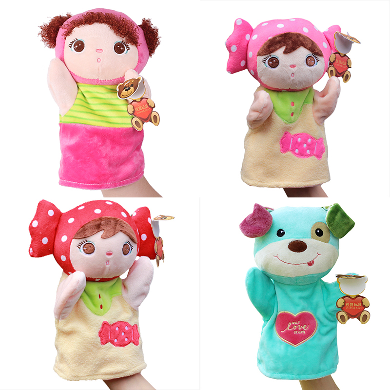 Plush large cartoon hand puppets for kids Parent-child early childhood animal puppet toys fox rabbit tiger fluffy finger puppet