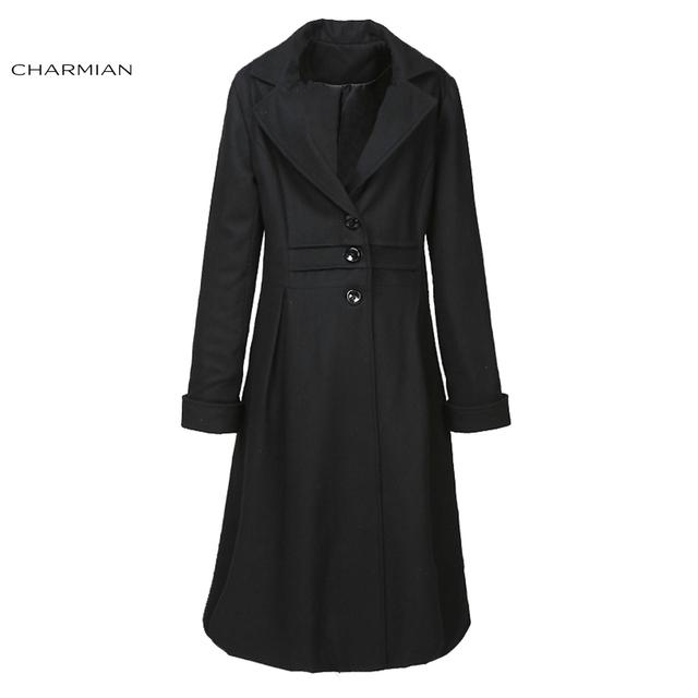Чармиан женские Зимние Пальто Шерсть Черный Длинные Пальто Тренч Повседневные Куртки Теплые Outerwears Одежда