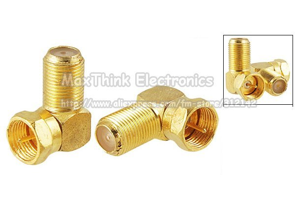 Free shipping 10pcs F Type Male Plug to Female Jack RF Coaxial Connector Adapter Right Angle