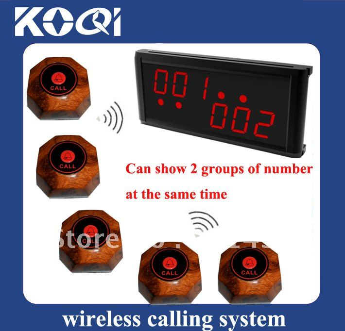 Wireless waiter service paging call system , A set is 15pcs of single call bell and 1 pc of display showing 2 groups of number(China (Mainland))