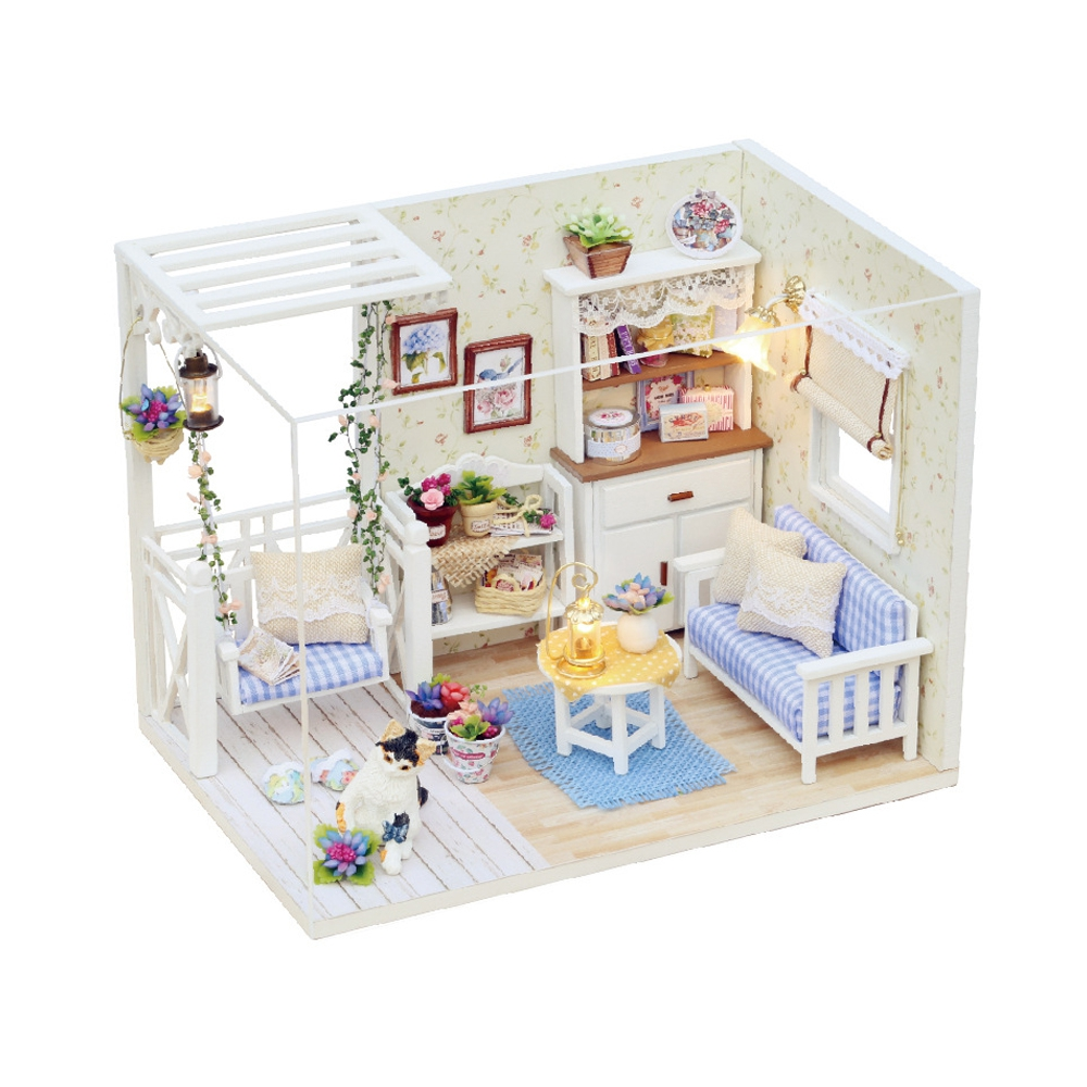 H - 013 Cutest Dolls House DIY Wooden Dollhouse Furniture Handcraft Miniature Box Kit with Cover LED Light - Cat Diary(China (Mainland))