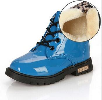 Новые зимние дети снегоступы теплые кожаные туфли-botas мотоцикл мальчики девочки дети плюшевые хлопок обуви ботильоны детской обуви 8