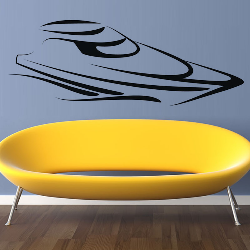 Simple Delineative Abstract Speed Boat Wall Sticker Art Vinyl Home Decor Removable Wall Decal For Living Room(China (Mainland))