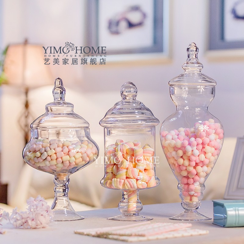 2018 Wholesale Assembly Kit Transparent Glass Candy Jar With Lid