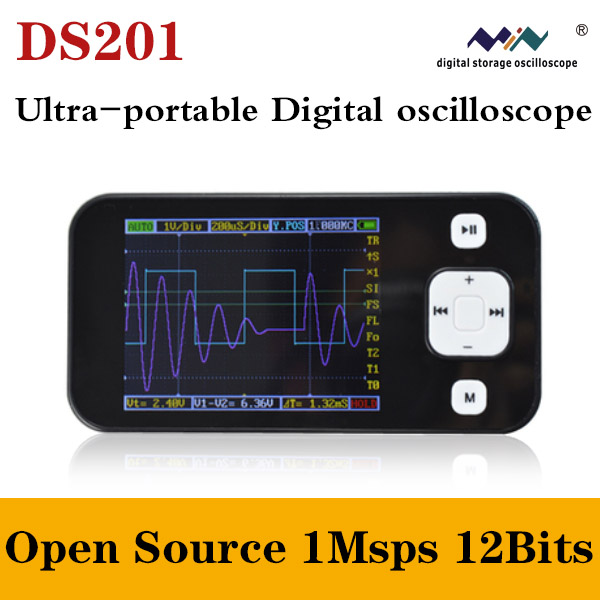 """DSO201 ARM Nano Pocket Portable Digital Oscilloscope DS201 DSO Mini 2.8"""" with USB Cable Limt Bag Probe(China (Mainland))"""