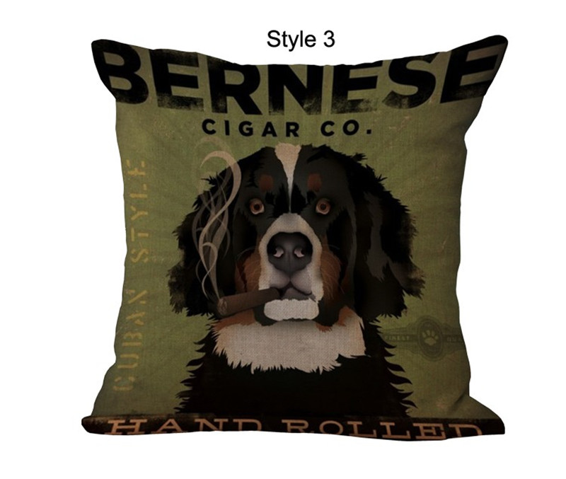 Retro Cotton Linen Cushion Pillow Cover Lovely Pet Dog Cat Animal Printed Vintage Cushion Cover Home