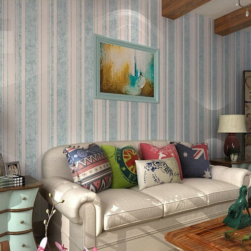 Flock Classic Stripe Wall Paper Blue Background Wall Wallpaper For Living Room Striped Wallpaper
