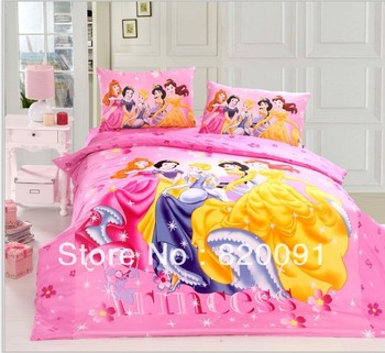 Pink Pretty Princess Bedding Bed Sets Doona Duvet Cover Set for Baby Girls 3 or 4pcs Suit for Twin/Full/Queen Bed Comforters