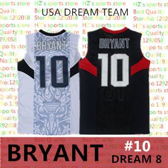 2008 USA dream team 10# Kobe Bryant classics basketball Jersey, top quality MESH White and Blue usa 10 Bryant Basketball Jersey(China (Mainland))