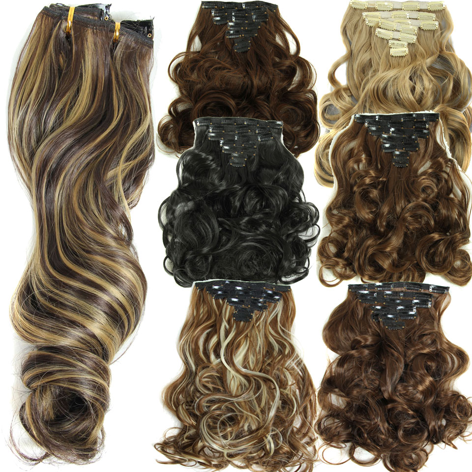 16 Clips 7pcsset 20inch 160g Long Straight Synthetic Hair Extension