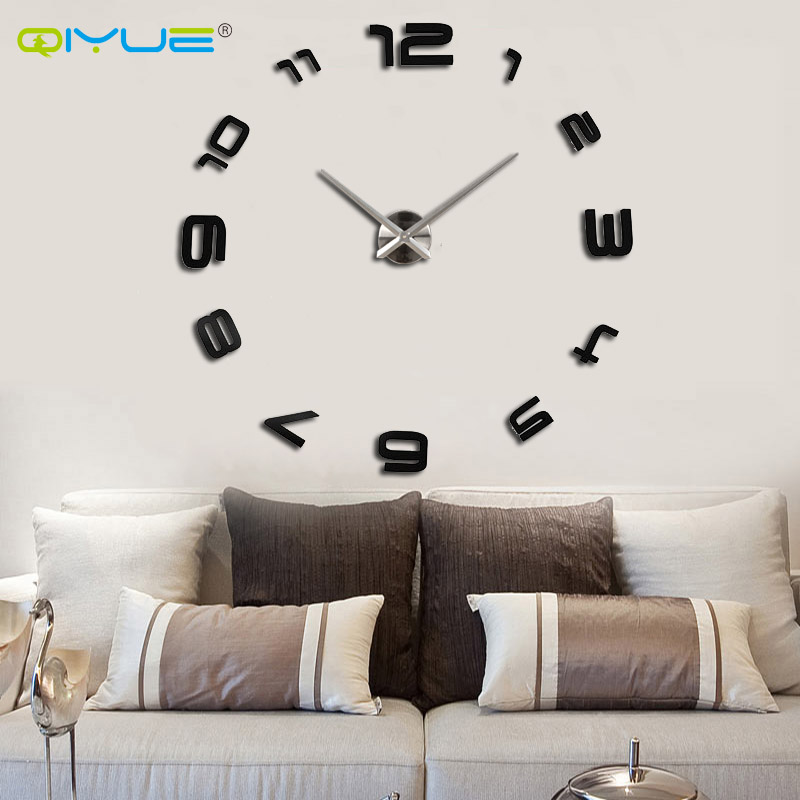 Home decorations big mirror wall clock Modern design large decorative designer wall clocks watch wall sticker unique gift W008s(China (Mainland))