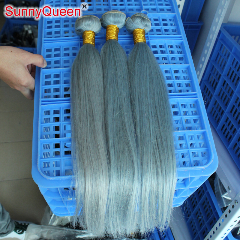 Фотография New Arrival 7A Grade Brazilian Virgin Hair 3Pcs Lot Silver Gray Hair Extensions Brazilian Straight Virgin Grey Hair Weaves