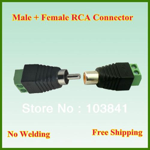 Retail 10pair/lot RCA female+male jack AV Screw Terminal Connector, RCA MF to terminal Block ,CAT5 To Camera CCTV Video Balun(China (Mainland))