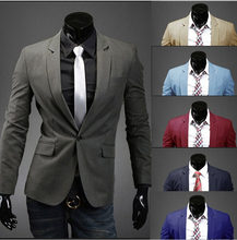Hot Sale 2015 New Design Mens Brand Blazer Jacket Coats,Casual Slim Fit Stylish Blazers For Men,Suits Size M~XXL,8 Colors(China (Mainland))