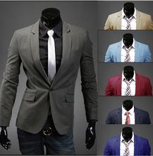 Vente Hot 2015 New Design Mens marque Blazer veste manteaux, Casual Slim Fit élégantes Blazers pour hommes, Costumes taille M ~ xxl, 8 couleurs(China (Mainland))