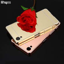 Buy Sony Xperia X Phone Cases Gold Plating Armor Aluminum Metal Frame + Acrylic Back Cover Mirror Case Sony X F5121 F5122 for $3.02 in AliExpress store