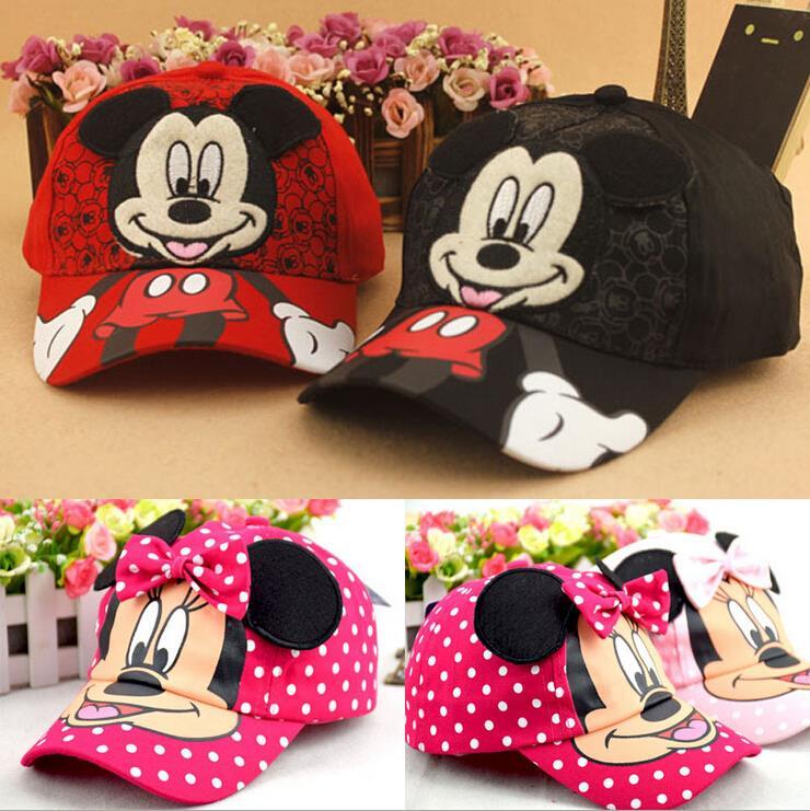 New Fashion Lovely Spring&Summer New Boys Girls Children Adjustable Hats Mickey Minnie Baseball Hip-Hop Cap Sun Hat Peaked Caps(China (Mainland))