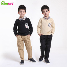 Bow Tie Brand Children Clothing Sets School uniform Casual Autumn Plaid Shirt+Pants Toddler Boy Clothing Gentleman Tracking Suit(China (Mainland))