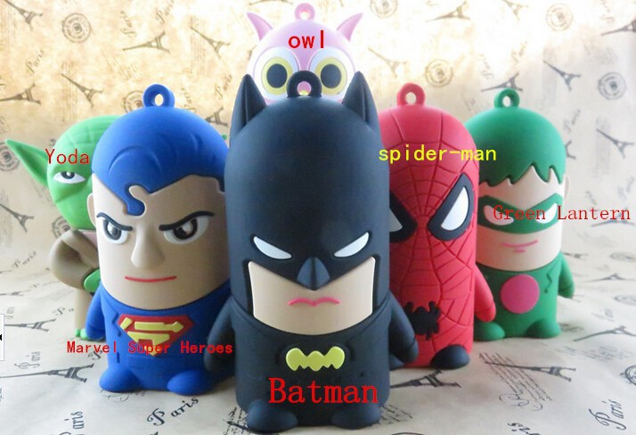 New arrival The Avengers Cartoon doll 8800mah power bank Batman SpiderMan Owl for iPhone 6 6plus 5 5s Xiaomi HTC battery charger