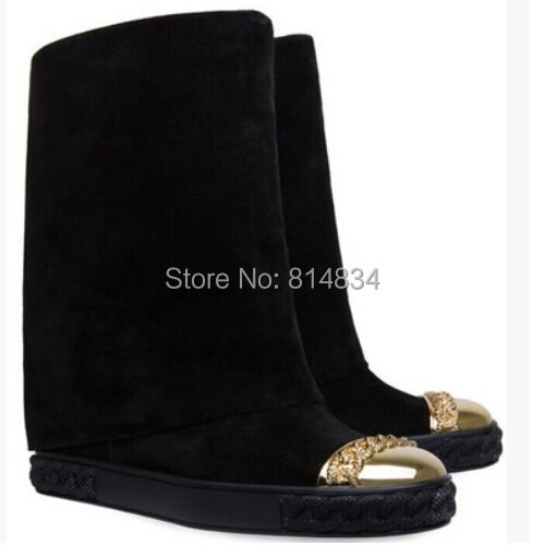 Free shipping fashion women ankle boots hidden wedge high heel boots gold metal women boots<br><br>Aliexpress