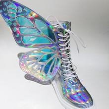 Kobiety Shine srebrny krótkie buty z skrzydła motyla moda zima ciepłe Chelsea botki buty 2019 nowe panie mieszkania Botine Mujer(China)
