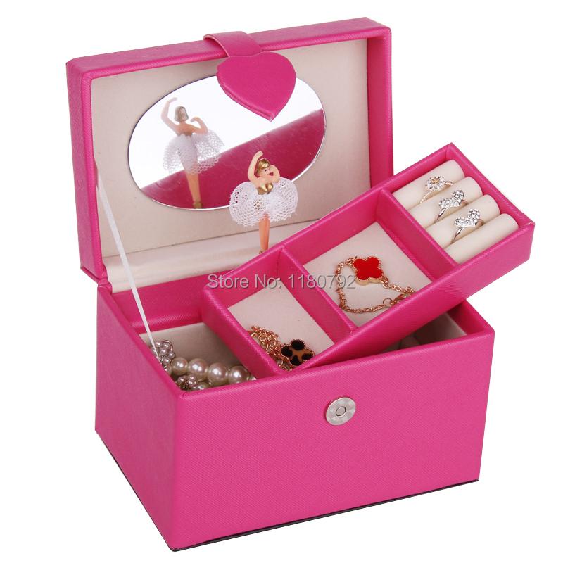 [ROWLING]ROSE Musical Jewelry Box Beads Ring Bracelet Storage Box Organizer Children Gift Travel Case ZM001(China (Mainland))