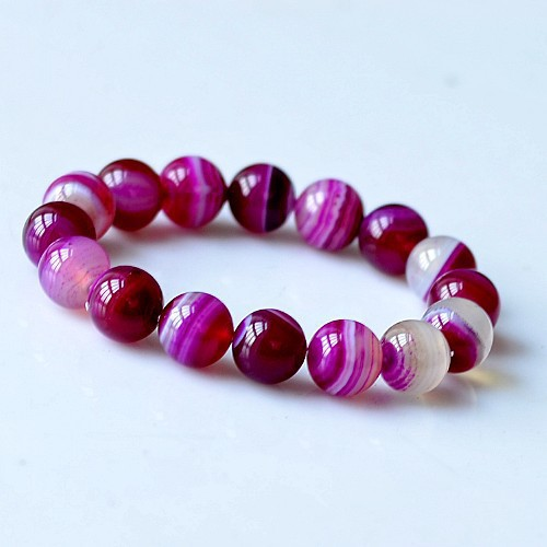 6-8-10-12MM Beads Rose Red Agate Beads Bracelets Natural Elastic Women Bracelet Jewelry Women Bracelet Gift For Best Friends(China (Mainland))