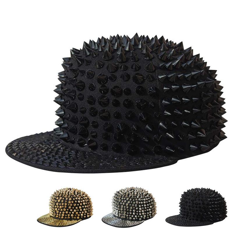Wholesale punk rap hip hop rivet Bboy hip hop hat hiphop baseball cap post box flat cap(China (Mainland))